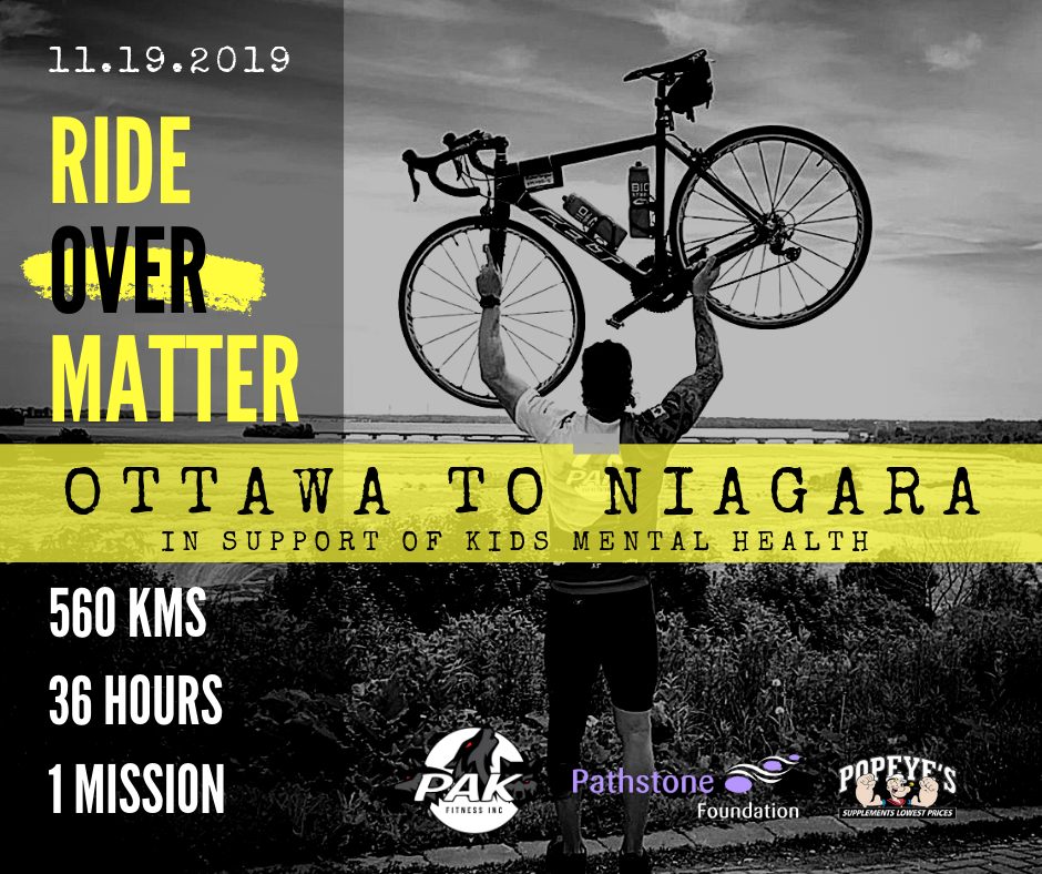 Niagara man leaving Ottawa to begin a 36 hour ride home in support of Mental Health